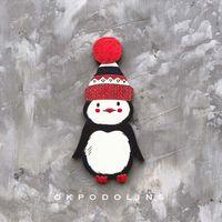 """Значок деревянный """"Пингвинчик в шапке"""" (арт. 279-1)"""