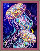 """Алмазная вышивка-мозаика """"Пара медуз"""" (300х400 мм)"""