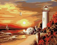 "Картина по номерам ""Закат и маяк"" (400х500 мм)"