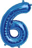 """Воздушный шар """"Цифра 6"""" (синий)"""