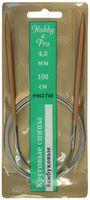 Спицы для вязания круговые (бамбук/металл; 4 мм)