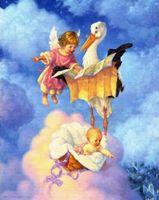 """Вышивка крестом """"Ангелочек с аистом"""" (550x680 мм)"""