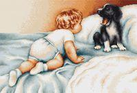 """Вышивка крестом """"Мальчик с собакой"""" (380х280 мм)"""