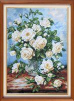"""Вышивка крестом """"Белые розы"""" (310х400 мм)"""