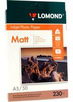Фотобумага матовая односторонняя Lomond (50 листов; 230 г/м2; A5)