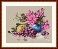 "Вышивка крестом ""Натюрморт с виноградом"" (230х270 мм)"