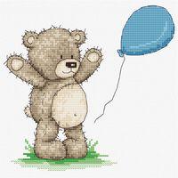 """Вышивка крестом """"Медвежонок Бруно"""" (155х150 мм)"""