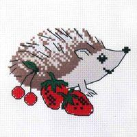 """Вышивка крестом """"Ежик с ягодами"""" (190х190 мм)"""