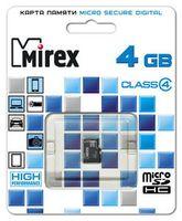 Карта памяти micro SDHC 4Gb Mirex Class 4 (без адаптера)