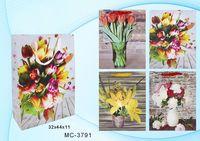 """Пакет бумажный подарочный """"Цветы"""" (в ассортименте; 32x44x11 см; арт. МС-3791)"""