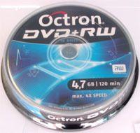 Диск DVD+RW 4.7Gb 4x Octron (Ritek) CakeBox 10