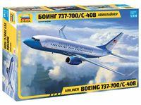 "Сборная модель ""Пассажирский авиалайнер Боинг 737-700 С-40B"" (масштаб: 1/144)"