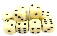 """Набор кубиков D6 """"Опак"""" (12 мм; 12 шт.; слоновая кость)"""