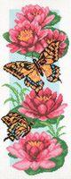 """Канва с нанесенным рисунком """"Бабочки и нимфеи"""""""