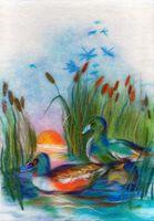 """Картина из шерсти """"Утки на озере"""""""